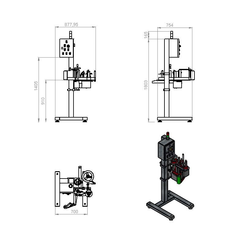 Plano de una máquina etiquetadora automática de la serie 400