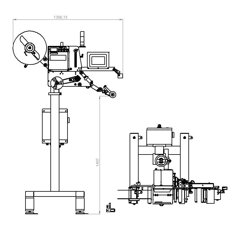 Plano CAD de una etiquetadora automática serie 500