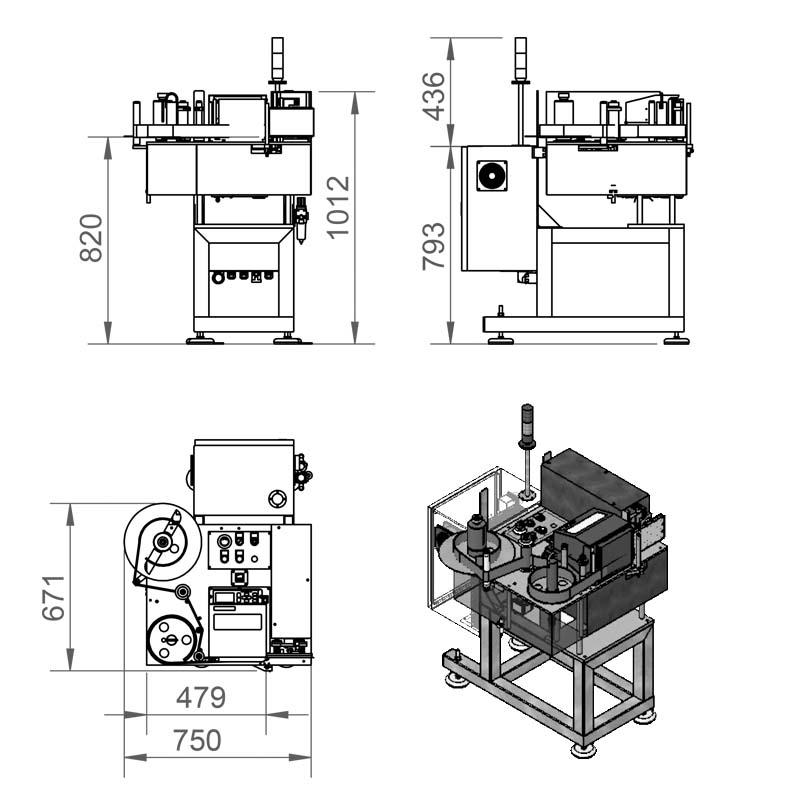 Plano de una máquina etiquetadora automática de la serie 600