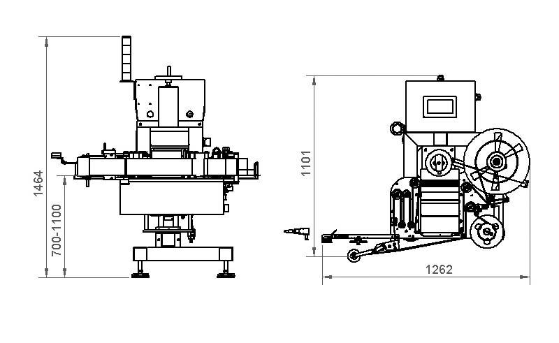 Plano de una máquina etiquetadora automática de la serie 700